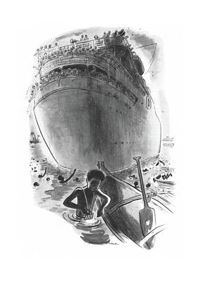 Liner Drawing - New Yorker April 1st, 1944 by Garrett Price