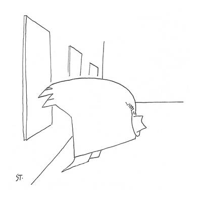 Leaning Drawing - New Yorker April 20th, 1957 by Saul Steinberg