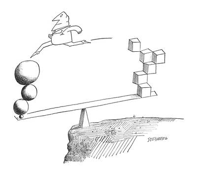 Spheres Drawing - New Yorker April 20th, 1963 by Saul Steinberg