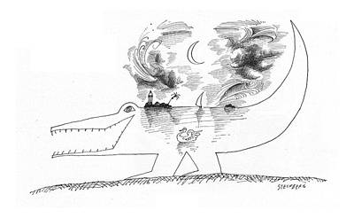 Crocodile Drawing - New Yorker April 21st, 1962 by Saul Steinberg