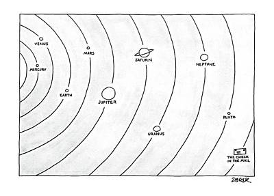 Planets Drawing - New Yorker April 21st, 1986 by Jack Ziegler