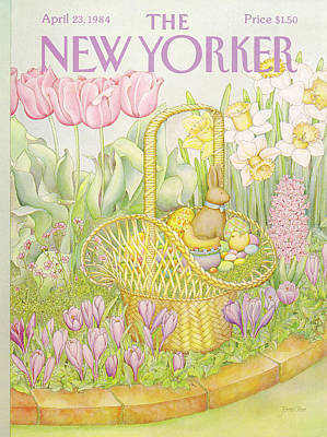 Spring Flowers Painting - New Yorker April 23rd, 1984 by Jenni Oliver