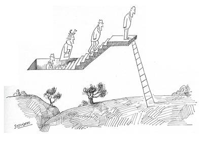 Weird Drawing - New Yorker April 24th, 1965 by Saul Steinberg