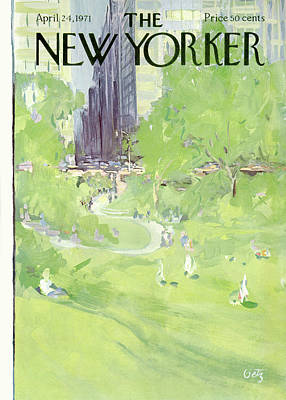 In The Distance Painting - New Yorker April 24th, 1971 by Arthur Getz