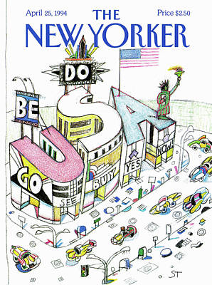 Urban Store Painting - New Yorker April 25th, 1994 by Saul Steinberg