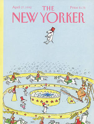 Train Painting - New Yorker April 27th, 1992 by George Booth