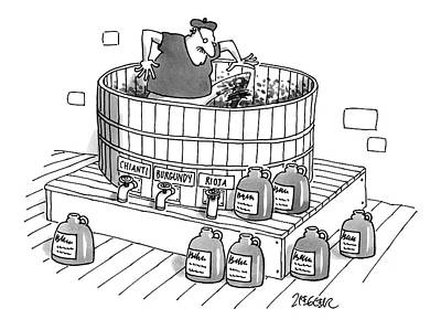 Grape Drawing - New Yorker April 28th, 1997 by Jack Ziegler