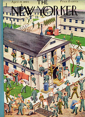 Military Base Painting - New Yorker April 29th, 1944 by Tibor Gergely