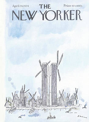 The Twin Towers Of The World Trade Center Painting - New Yorker April 29th, 1974 by R.O. Blechman