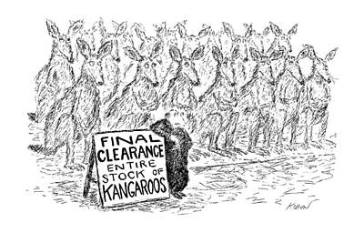 Kangaroo Drawing - New Yorker April 29th, 1991 by Edward Koren