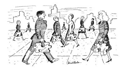 Street Drawing - New Yorker April 29th, 1991 by Stuart Leeds