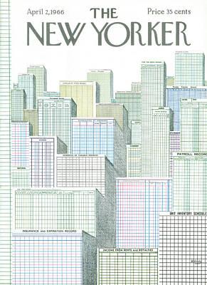 Manhattan Skyline Painting - New Yorker April 2nd, 1966 by Anatol Kovarsky