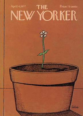 Large Flower Painting - New Yorker April 4th, 1977 by Robert Tallon