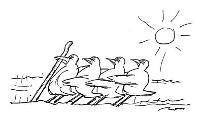 Worm Drawing - New Yorker April 4th, 1994 by Al Ross