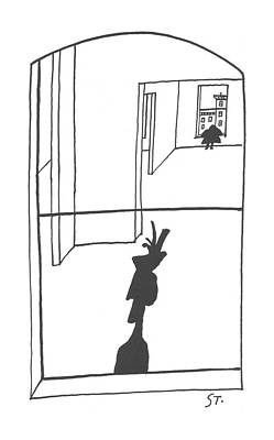 People Drawing - New Yorker April 6th, 1957 by Saul Steinberg