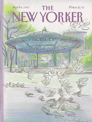 Pigeon Painting - New Yorker April 6th, 1987 by Eugene Mihaesco