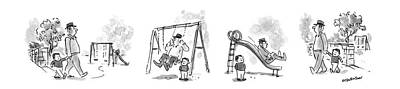 Playground Drawing - New Yorker April 6th, 1987 by James Stevenson