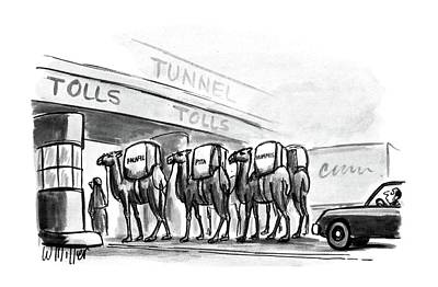 Camel Drawing - New Yorker April 6th, 1987 by Warren Miller