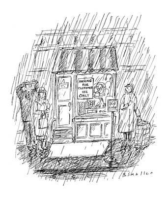 Downpour Drawing - New Yorker April 6th, 1998 by Barbara Smaller