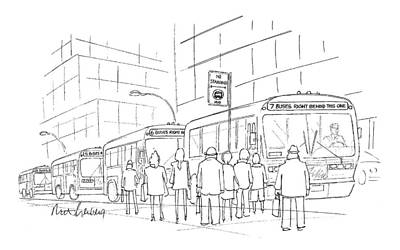 Street Drawing - New Yorker April 6th, 1998 by Mort Gerberg