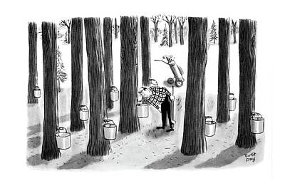Vermont Drawing - New Yorker April 7th, 1962 by Robert J. Day