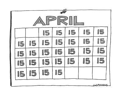 Calendar Drawing - New Yorker April 7th, 1986 by Mick Stevens