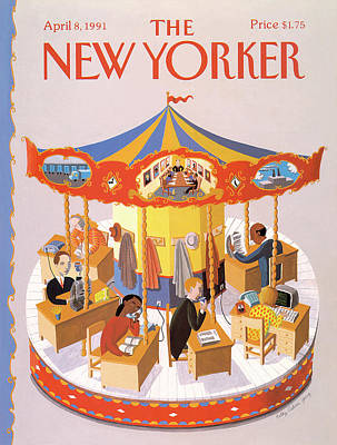 Desk Painting - New Yorker April 8th, 1991 by Kathy Osborn