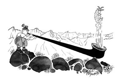 Alps Drawing - New Yorker April 8th, 1996 by Peter Porges