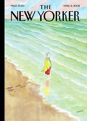 Raincoats Painting - New Yorker April 8th, 2002 by Jean-Jacques Sempe