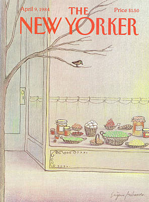 Storefront Painting - New Yorker April 9th, 1984 by Eugene Mihaesco
