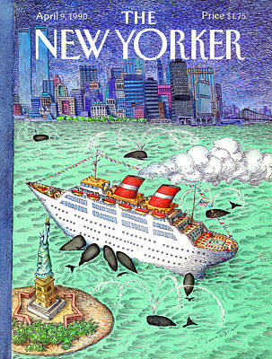 World Trade Center Painting - New Yorker April 9th, 1990 by John O'Brie