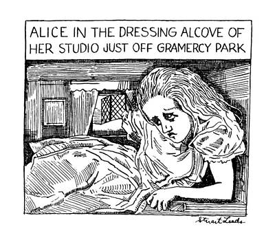 Alice Drawing - New Yorker April 9th, 1990 by Stuart Leeds