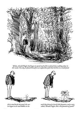 Aged Wood Drawing - New Yorker August 10th, 1968 by Charles Saxon