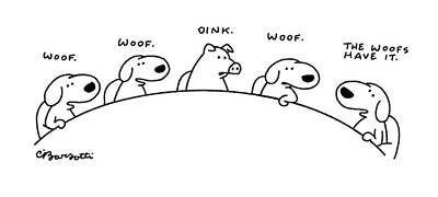 Pig Drawing - New Yorker August 11th, 1997 by Charles Barsotti