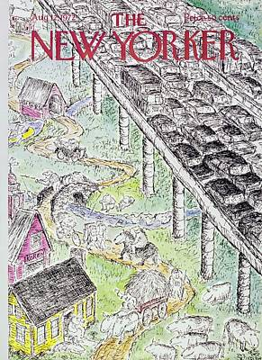 House Painting - New Yorker August 12th 1972 by Edward Koren