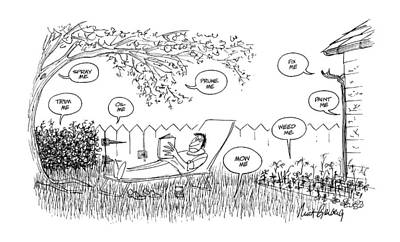 Fence Drawing - New Yorker August 12th, 1974 by Mort Gerberg