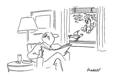 Squirrel Drawing - New Yorker August 13th, 1990 by Frank Modell