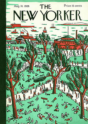 Water Play Painting - New Yorker August 14th, 1926 by Ilonka Karasz