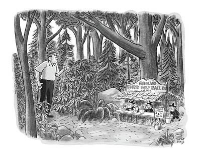 Found Wood Drawing - New Yorker August 14th, 1965 by Robert J. Day