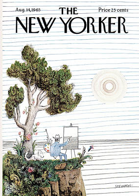 Sun And Tree Painting - New Yorker August 14th, 1965 by Saul Steinberg