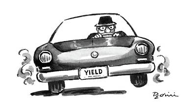 License Plate Drawing - New Yorker August 15th, 1988 by Eldon Dedini