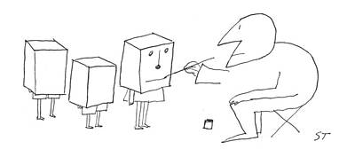 Paper Bag Drawing - New Yorker August 17th, 1957 by Saul Steinberg