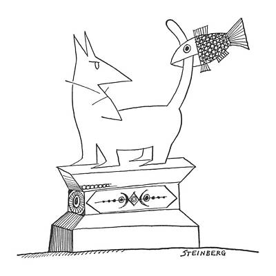 Bite Drawing - New Yorker August 17th, 1963 by Saul Steinberg
