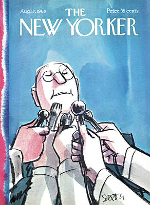 Microphone Painting - New Yorker August 17th, 1968 by Charles Saxon