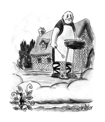 Suburban Drawing - New Yorker August 17th, 1987 by Warren Miller