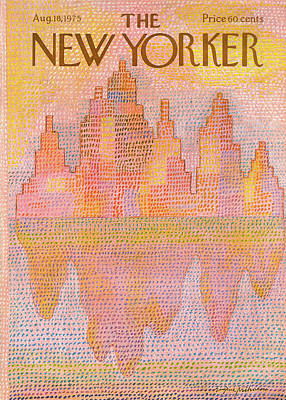 Sun River Painting - New Yorker August 18th, 1975 by Eugene Mihaesco