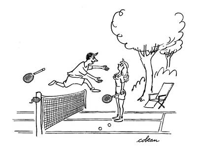 Tennis Drawing - New Yorker August 19th, 1950 by Sam Cobean