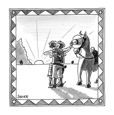Westerns Drawing - New Yorker August 19th, 1991 by Jack Ziegler