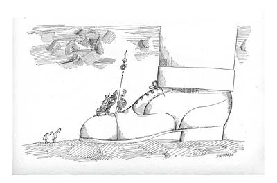 Lilliput Drawing - New Yorker August 1st, 1964 by Saul Steinberg