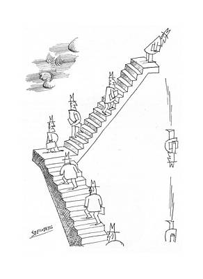 Employer Drawing - New Yorker August 20th, 1966 by Saul Steinberg